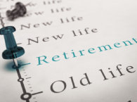 Retirement written on a timeline printed on a paper with a blue pushpin, concept image for changes after work life.